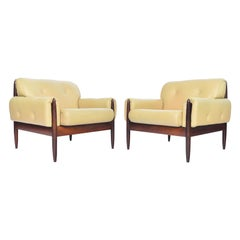 Pair of Danish Modern Rosewood and Leather Lounge Chairs