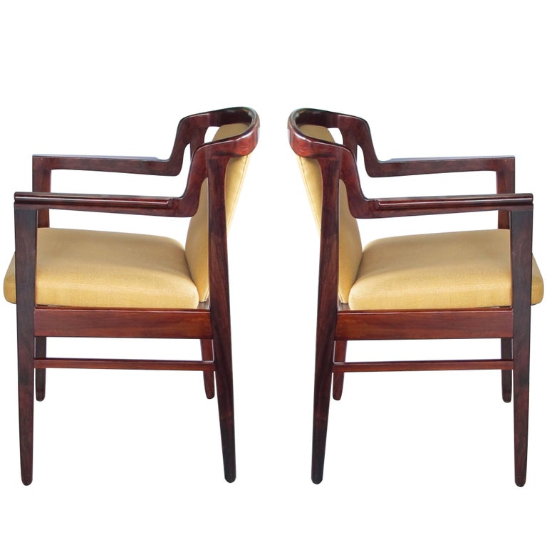 Pair of Danish Modern Rosewood Arm Chairs in the Manner of Kai Kristiansen For Sale