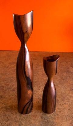 Pair of Danish Modern Rosewood Candlesticks