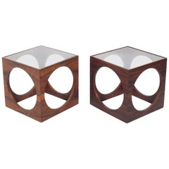 Pair of Danish Modern Rosewood Circle End Tables