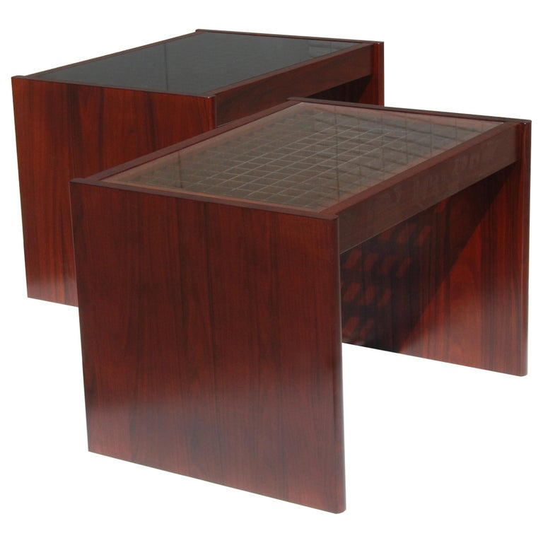 Pair of Danish Modern Rosewood End Tables by Komfort For Sale