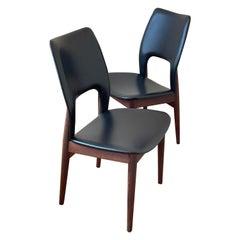 Pair of Danish Modern Rosewood & Naugahyde Tall Back Dinning Desk Chairs