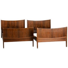 Pair of Danish Modern Rosewood Single Bed Frames by Illums Bolighus