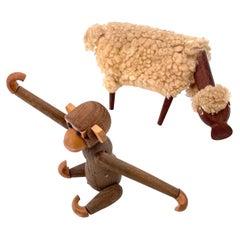 Pair of Danish Modern Sheep & Monkey Toys in Teak & Wool After Kay Bojesen