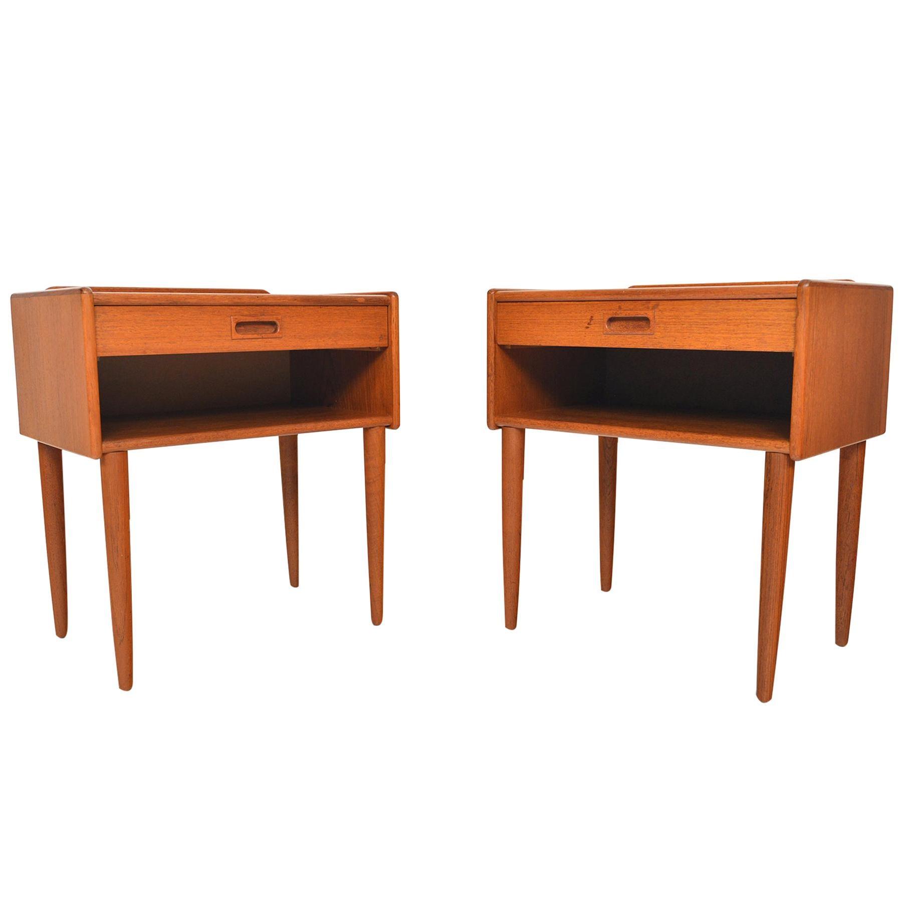 Pair of Danish Modern Single Drawer Teak Nightstands