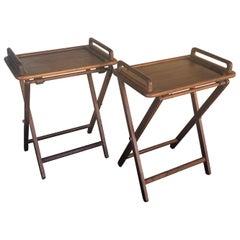 Pair of Danish Modern Solid Teak Folding TV Trays / Tables