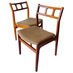 Pair of Danish Modern Solid Teak Frames with Sculpted Back Dinning Chairs