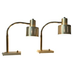 Pair of Danish Modern Table Lamps in Brass by Vitrika, 1960s