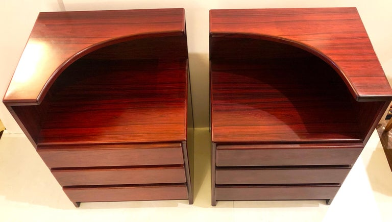 Great pair of tall rosewood night stands / tables triple drawer very clean condition circa 1980s.