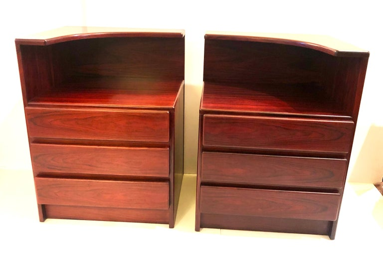 Canadian Pair of Danish Modern Tall Rosewood Night Stands/Tables For Sale