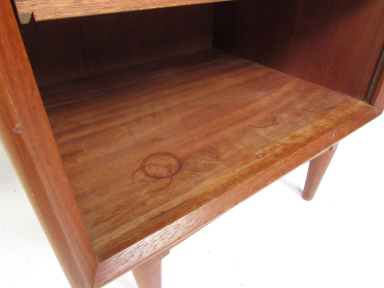 Pair of Danish Modern Tambour Nightstands by Falster For Sale 8