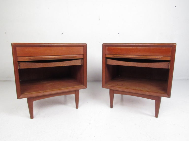 Mid-Century Modern Pair of Danish Modern Tambour Nightstands by Falster For Sale