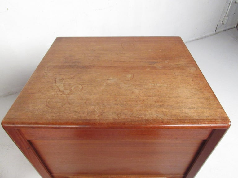 Teak Pair of Danish Modern Tambour Nightstands by Falster For Sale