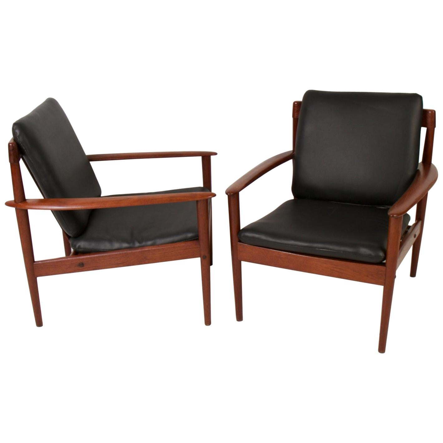 Pair of Danish Modern Teak Lounge Chairs by Grete Jalk