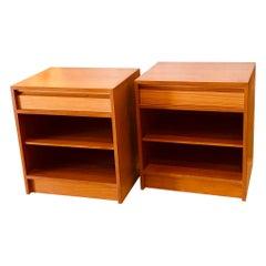 Pair of Danish Modern teak Nightstands with Shelf