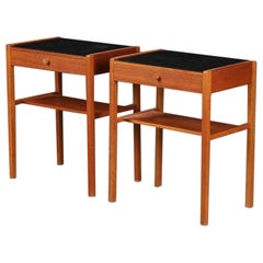 Pair of Danish Modern Teak Single Drawer Nightstands with Glass Tops