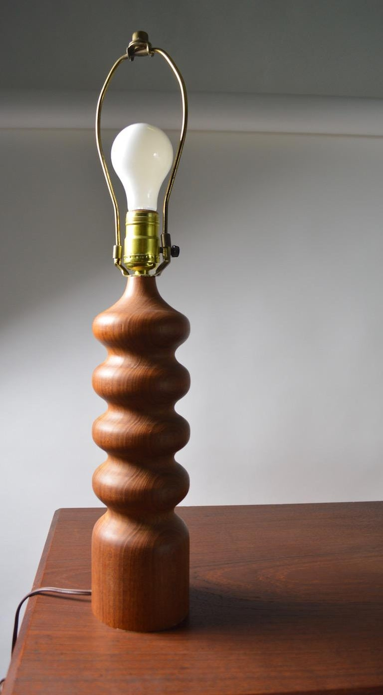 Pair of Danish Modern Turned Teak Wood Table Lamps For Sale 1