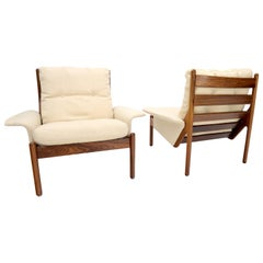 Pair of Danish Modern Virgin Wool Upholstery Rosewood Frames Longe Chairs