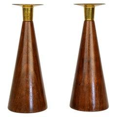 Pair of Danish Modern Walnut and Brass Candlesticks
