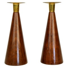 Pair of Danish Modern Walnut and Brass Candlesticks