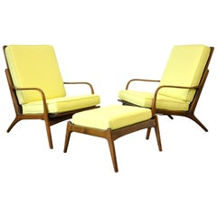 Pair of Danish Modern Yellow Lounge Chairs and Ottoman