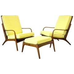 Pair of Danish Modern Yellow Lounge Chairs and Ottoman