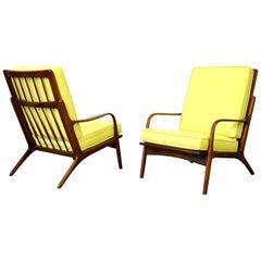 Pair of Danish Modern Yellow Lounge Chairs