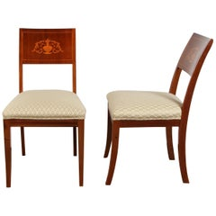 Pair of Danish Neoclassical Marquetry Chairs, 19th Century