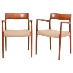 Pair of Danish Niels O Møller Model 57 Teak Carver Armchair Dining Chairs