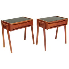 Pair of Danish Nightstand Side Tables Attributed to Arne Vodder