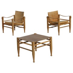 Pair of Danish Oxhide Safari Chairs Kaare Klint Style from 1970