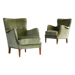 Pair of Danish Peter Hvidt and Attributed Lounge Chairs Green Mohair