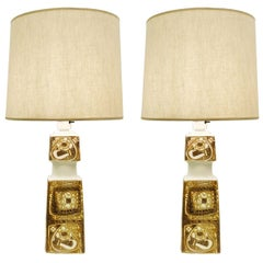 Pair of Danish Porcelain Baca Table Lamps by Nils Thorsson for Royal Copenhagen
