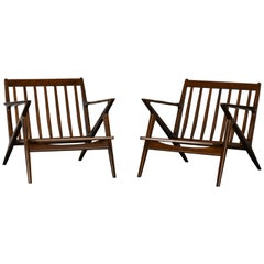 Pair of Danish Poul Jensen Z Lounge Chairs for Selig, 1960s