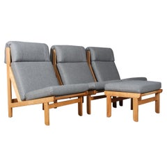"""Pair of Danish """"Rag"""" Easy Lounge Chairs in Pine and Fabric by Bernt Petersen"""