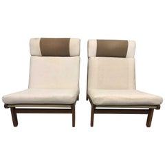 Pair of Danish Rag Lounge Chairs in Oak by Bernt Petersen