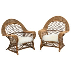 Pair of Danish Rattan Chairs