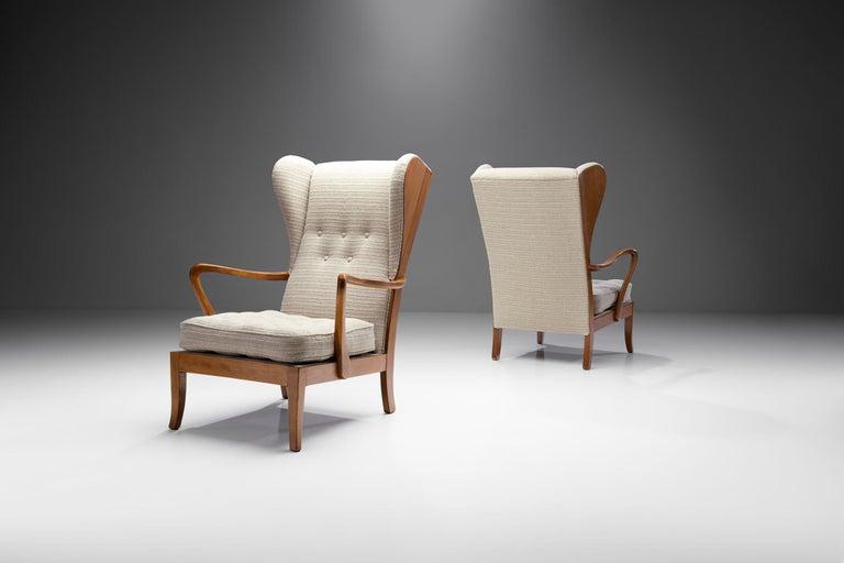 Mid-Century Modern Pair of Danish Øreklapstolen Chairs, Denmark, 1950s For Sale