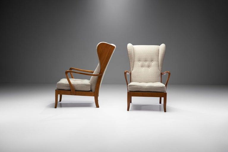 Pair of Danish Øreklapstolen Chairs, Denmark, 1950s In Good Condition For Sale In Utrecht, NL