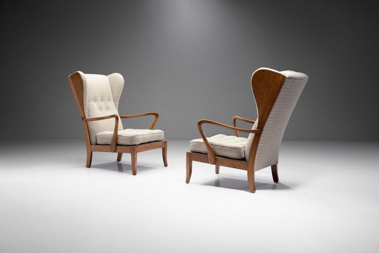 Mid-20th Century Pair of Danish Øreklapstolen Chairs, Denmark, 1950s For Sale