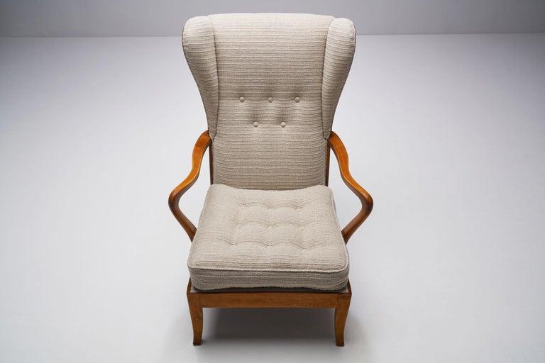 Beech Pair of Danish Øreklapstolen Chairs, Denmark, 1950s For Sale