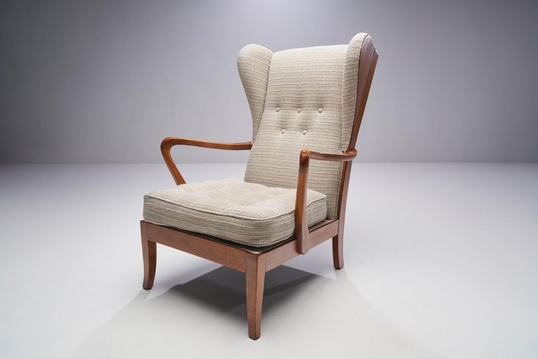 Pair of Danish Øreklapstolen Chairs, Denmark, 1950s For Sale 1