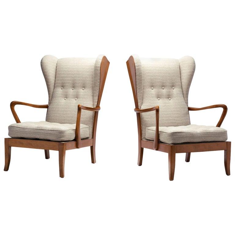 Pair of Danish Øreklapstolen Chairs, Denmark, 1950s For Sale