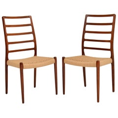 Pair of Danish 82 Chairs by Niels Moller Vintage, 1960s