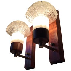 Pair of Danish Rosewood, Brass & Glass Sconces by J. Sommer, 1960s