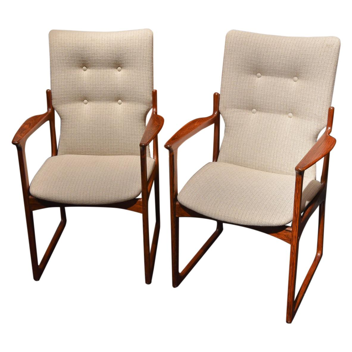 Pair of Danish Rosewood Chairs Attributed to Jacob Kjær