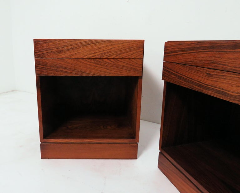 Pair of rosewood nightstands with two drawers by Arne Iversen Wahl for Vinde Mobelfabrik, circa 1970s.