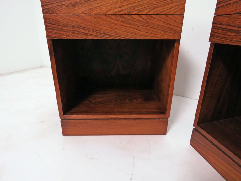 Pair of Danish Rosewood Two-Drawer Nightstands by Arne Iversen Wahl for Vinde For Sale 4