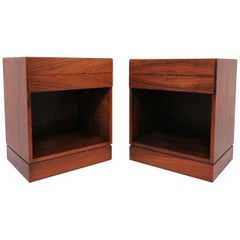 Pair of Danish Rosewood Two-Drawer Nightstands by Arne Iversen Wahl for Vinde