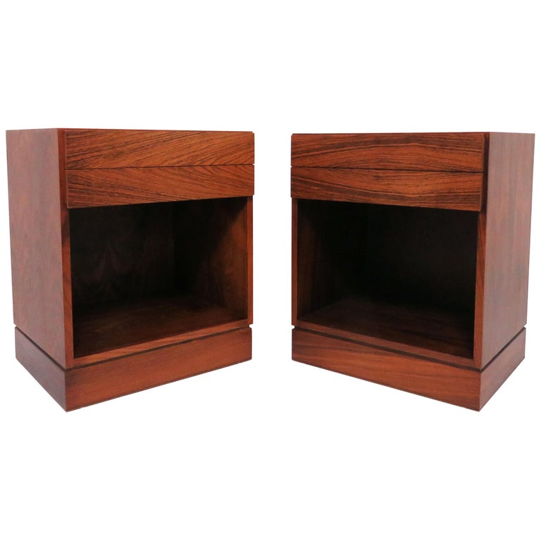 Pair of Danish Rosewood Two-Drawer Nightstands by Arne Iversen Wahl for Vinde For Sale